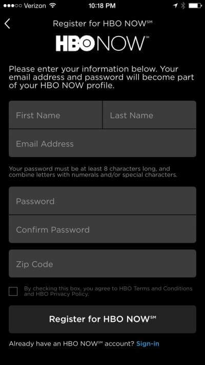 HBO Now Sign Up