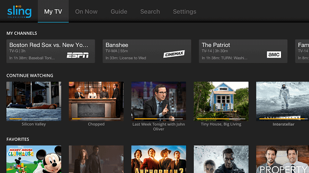 sling tv user interface