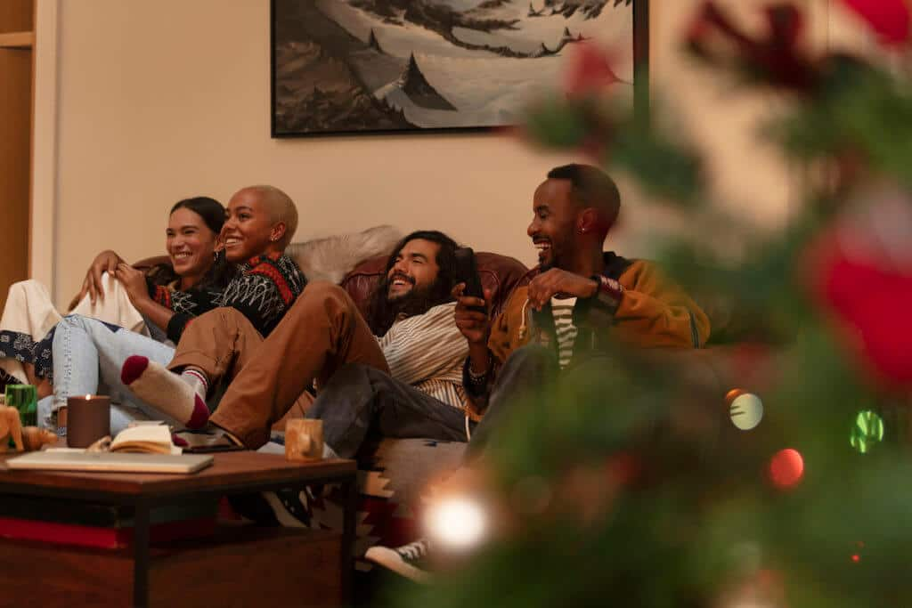 family on couch at holidays