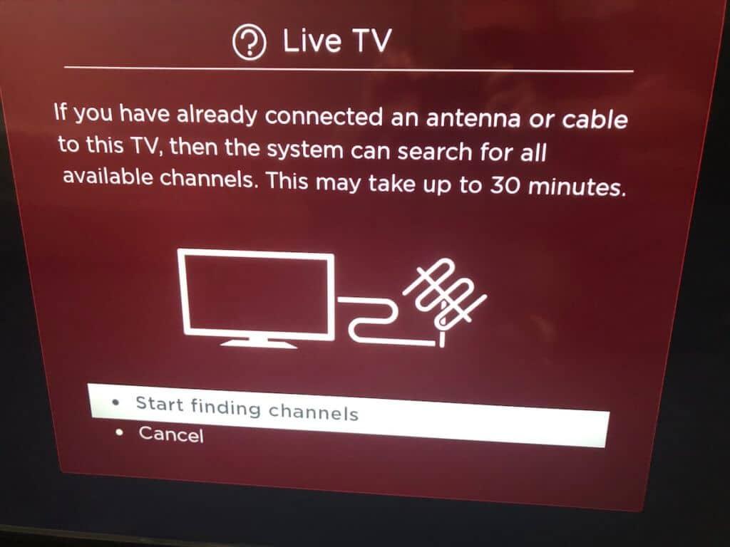 roku tv start channel scan