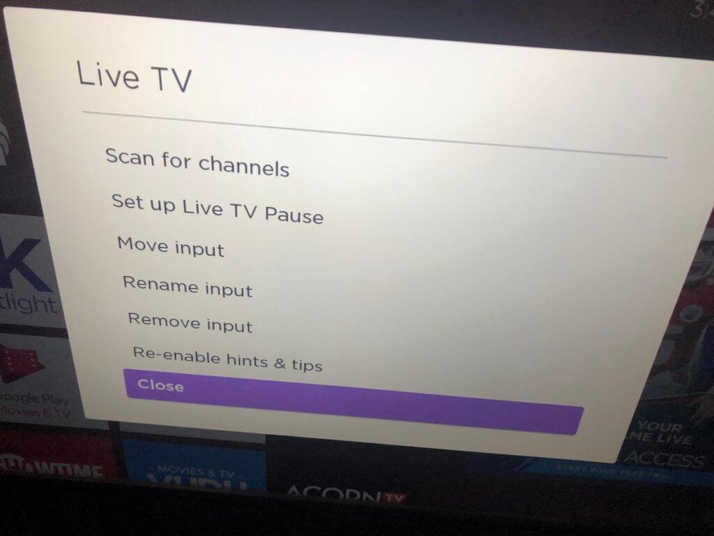 rescanning Roku TV