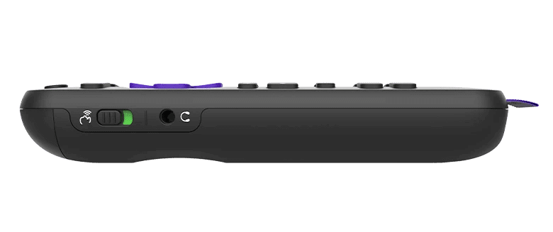 roku voice remote pro side view of hands free switch