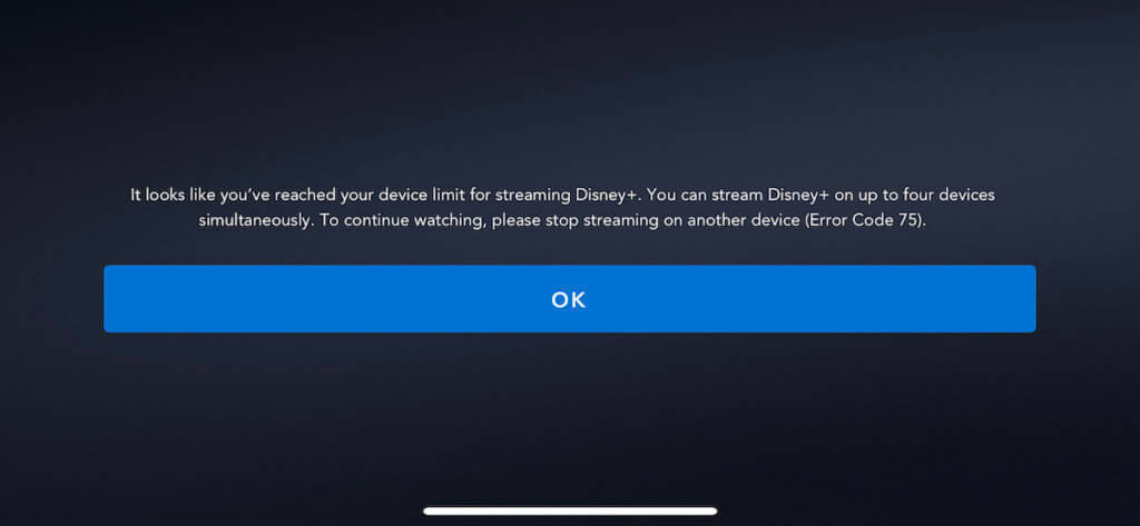 disney+ error code when you stream to more than 4 devices at once