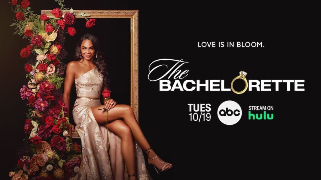Bachelorette Michelle Young poses in a frame of roses next to show logo