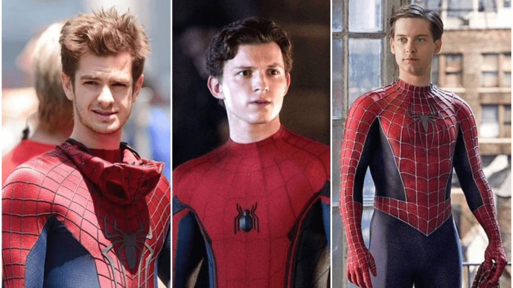 Andrew Garfield, Tom Holland, and Tobey Maguire as Spider-Man