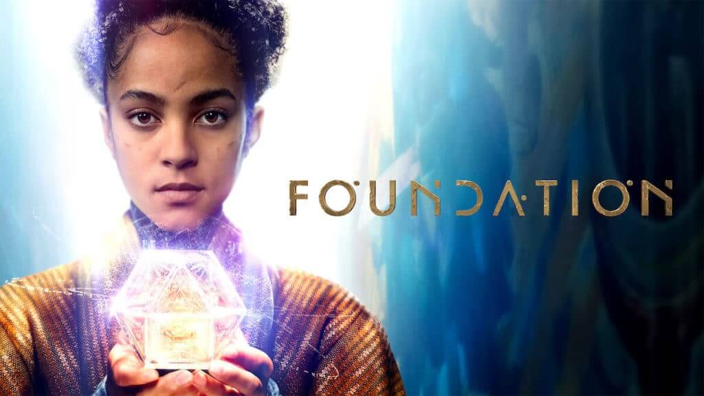 Woman holding glowing box and logo for series Foundation