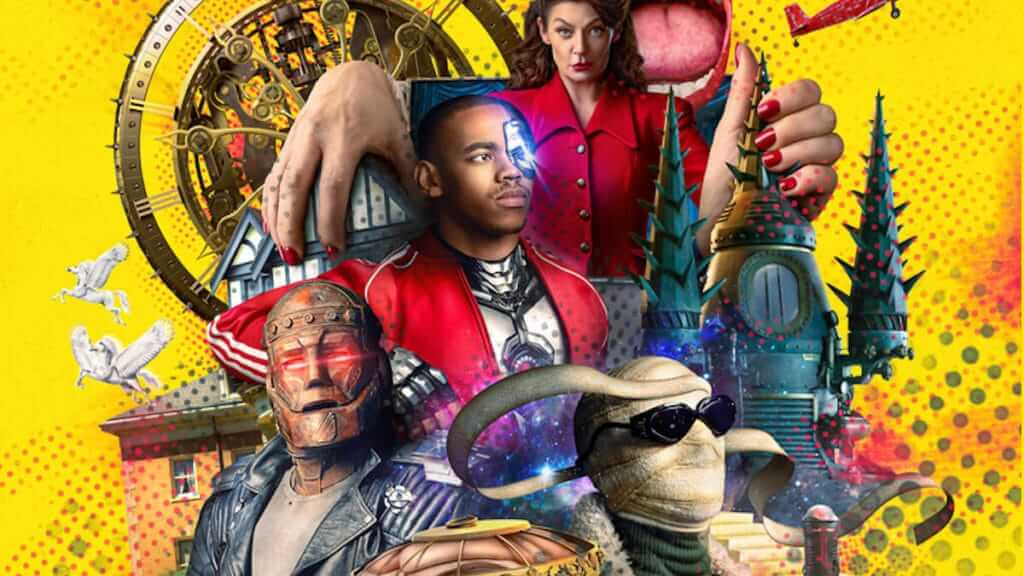 poster art for Doom Patrol featuring variety of comic book characters