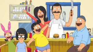 animated family from Bob's burgers in their restaurant