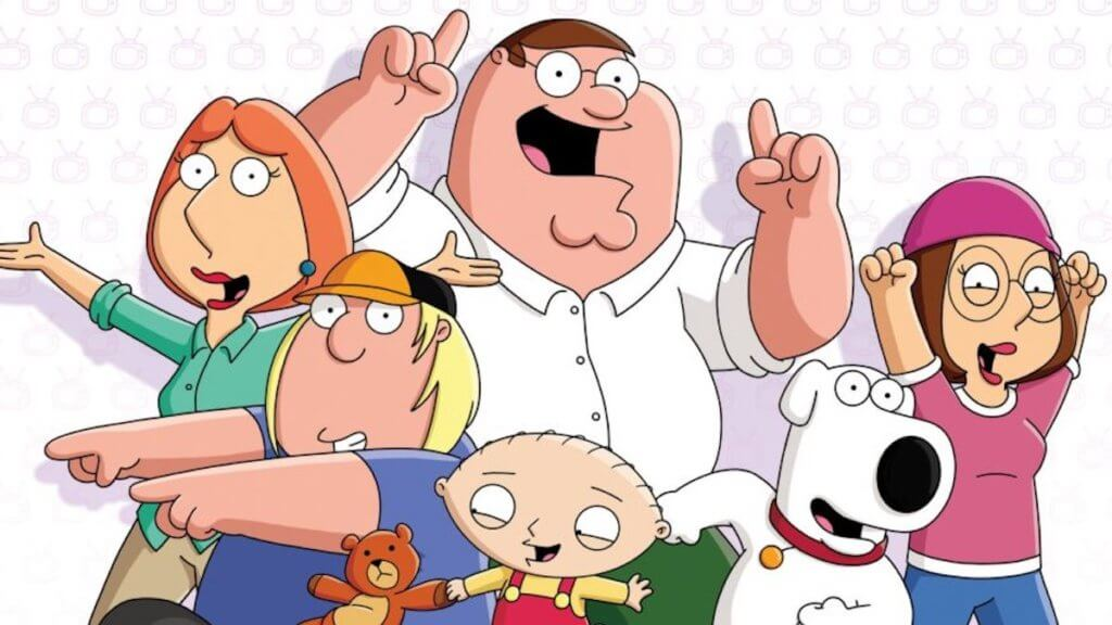 family grouping of animated characters from Family Guy