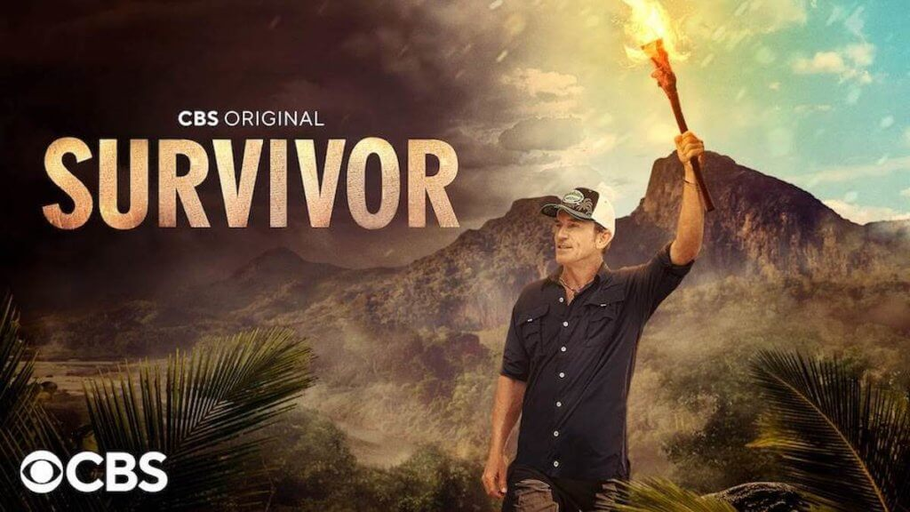 show logo for Survivor with host holding torch