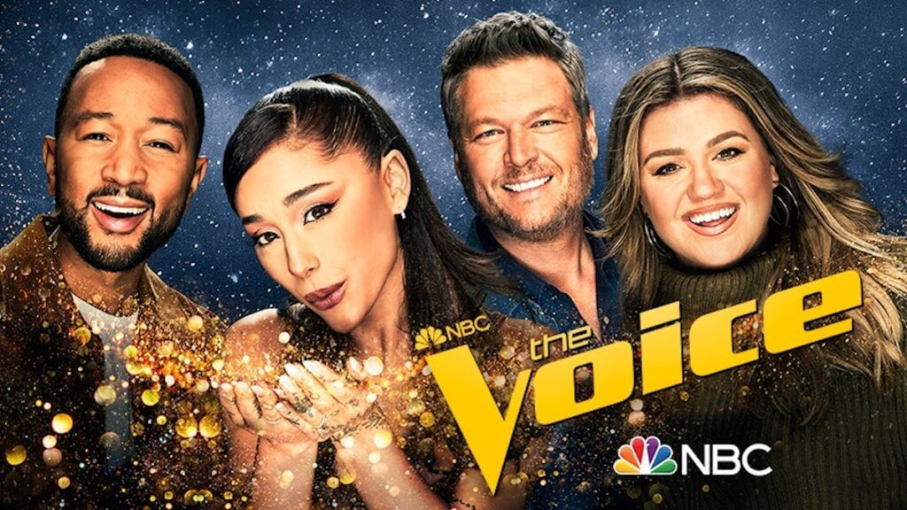 Logo photo for The voice showing four hosts smiling at the camera