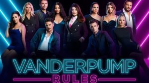 Group of cast from Vanderpump Rules looking at camera