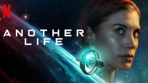 Logo for Another life alongside star's face over a space scene