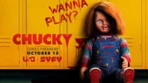 Chucky show logo with creepy doll