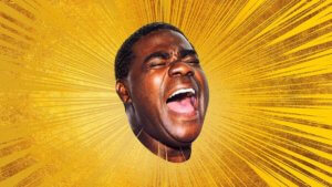 Actor tracy morgan's floating head on a gold background