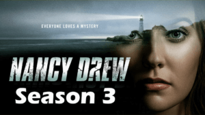 Nancy drew show logo over actors face and shadowy light house image