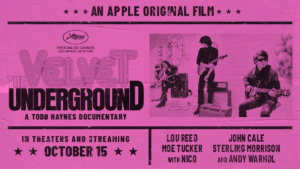 Documentary title and billing designed as retro concert poster