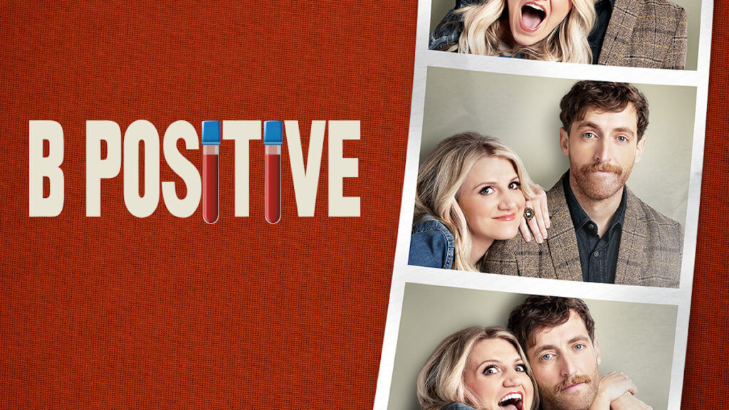 Female and Male presenting actors face camera in silly photos with logo B positive