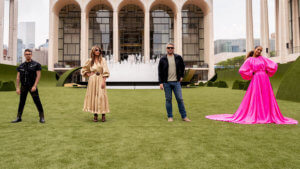 Four hosts of Project Runway in front of Lincoln Center in NYC