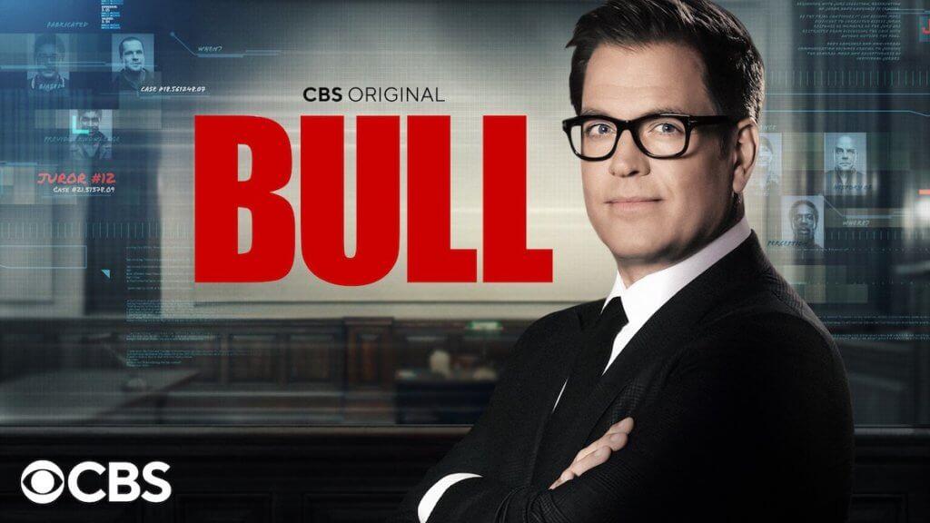 Bull show logo with actor facing camera