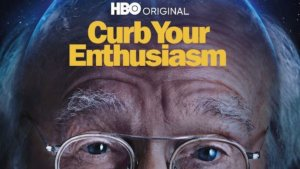 Show title Curb your enthusiasm on forehead of Larry David