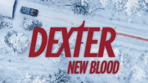 Show logo text Dexter New Blood over of aerial shot of a truck leaving a blood trail in snow