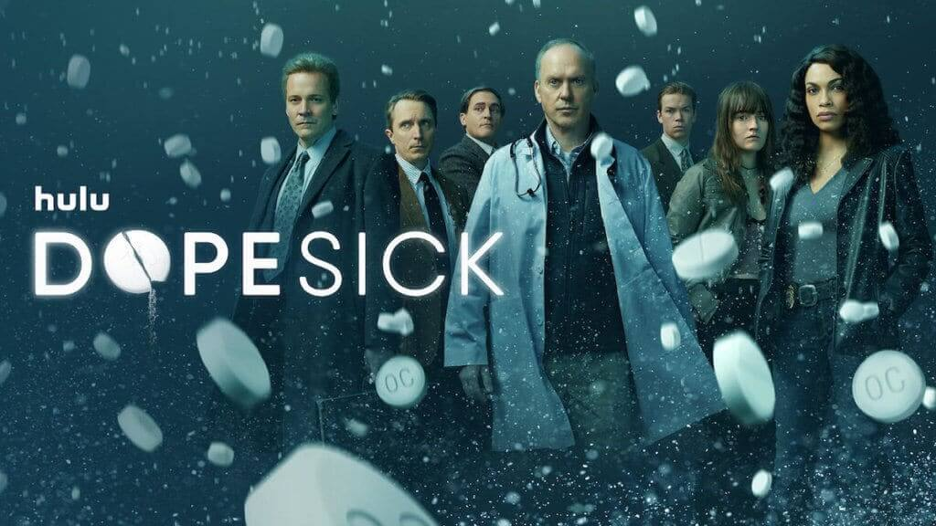 The cast of Dopesick series with pills and logo floating over them