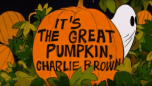 animated title card from it's the great pumpkin, charlie brown