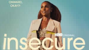 Show logo for Insecure over image of female lead Issa Rae