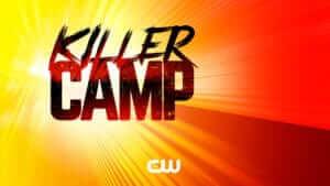 Logo for Killer Camp on a sun burst background