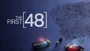 Show logo for The First 48 over a snowy crime scene viewed from above as a giant fingerprint