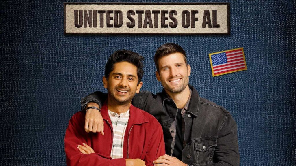 two men face the camera with show logo united states of al